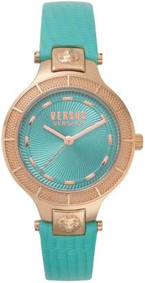 Versace Claremount Rose Goldtone Stainless Steel Leather-Strap Watch