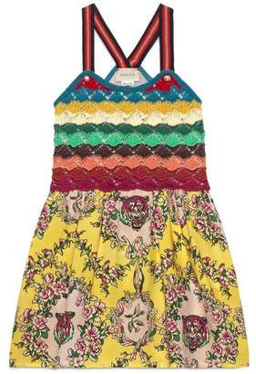 Gucci Children's poplin dress with crochet top