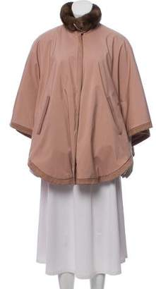 Loro Piana Mink & Suede-Trimmed Poncho