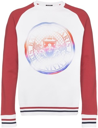 Balmain coin logo contrasting sleeve sweatshirt