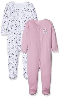 Name It Baby Girls' Nbfnightsuit 2p Zip W/f Mauve Mist Noos Sleepsuit, Multicolour, Pack of 2