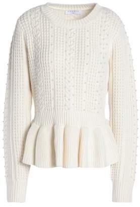 Sandro Rickie Beaded Cable-Knit Peplum Sweater
