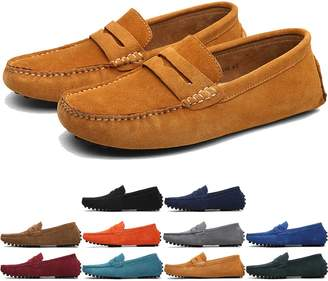 00726a7cbd4 MCICI Men s Penny Loafers Slip-ONS Flats Casual Moccasins Handmade Driving  Shoes Suede Leather Boat