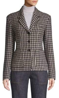 Derek Lam Fitted Houndstooth Blazer