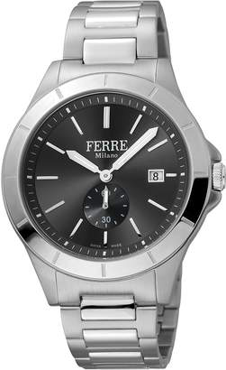 Ferré Milano Men's FM1G080M0061 Black Dial with Silver Stainless Steel Band Watch.