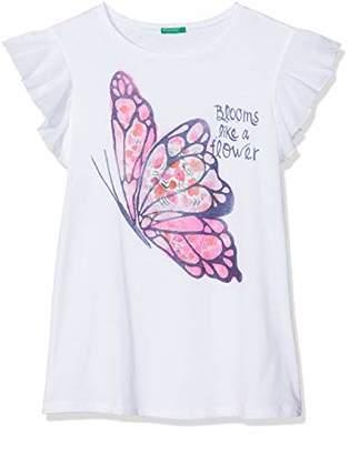 Benetton Girl's T-Shirt, (White 101), One (Size: XX)