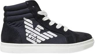 Armani Junior Cotton Canvas & Suede High Top Sneakers