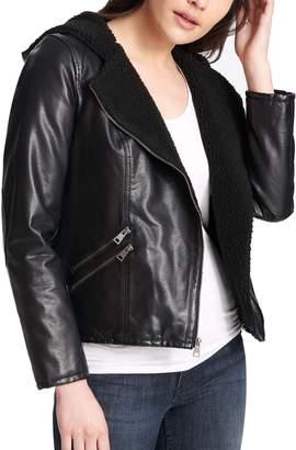 Levi's Levis Women's Hooded Asymmetrical Faux-Leather Moto Jacket