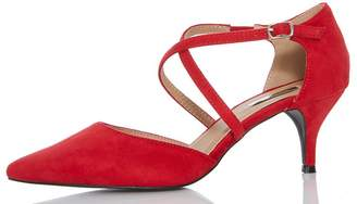 Quiz Red Faux Suede Low Heel Court Shoes