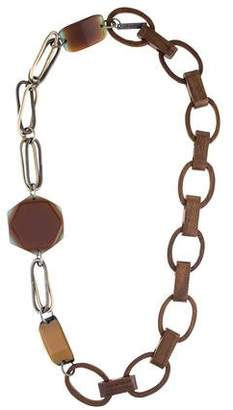 Marni Wood & Resin Link Necklace
