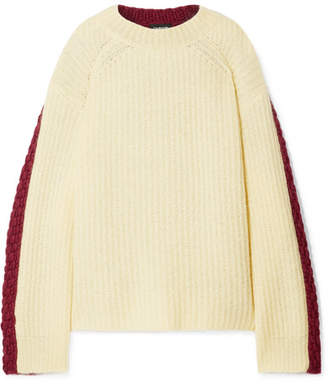 Calvin Klein Oversized Two-tone Wool And Mohair-blend Sweater - Pastel yellow