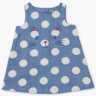 John Lewis & Partners Baby Cat Face Poplin Pinafore Dress, Navy