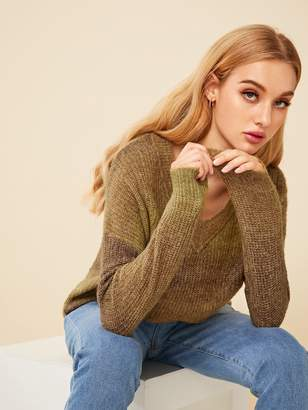 Shein Drop Shoulder V Neck Ombre Sweater