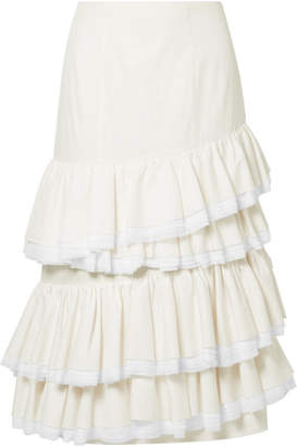 Sadie Ruffled Cotton And Silk-blend Midi Skirt - Ivory