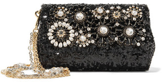 Dolce & Gabbana - Embellished Sequined Leather Shoulder Bag - Black $3,675 thestylecure.com