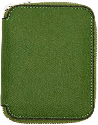 Valextra Green 6CC Zip Around Wallet