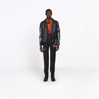 Balenciaga Statement message printed calfskin biker jacket