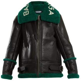 Balenciaga Le Bombardier Shearling Jacket - Womens - Black Green