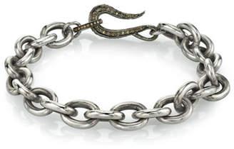 Mr. Lowe Men's Chain Bracelet w/ Diamond Clasp, Size M