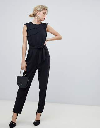 Oasis jumpsuit with frill detail in black