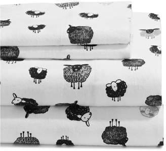 Distinctly Home Sleepy Sheep Flannel Cotton 4-Piece Sheet Set