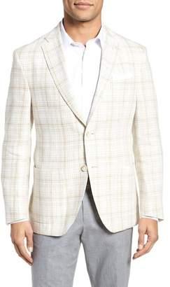 JKT NEW YORK Trent Trim Fit Plaid Linen Sport Coat