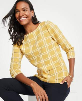 Ann Taylor Petite Textured Plaid 3/4 Sleeve Top