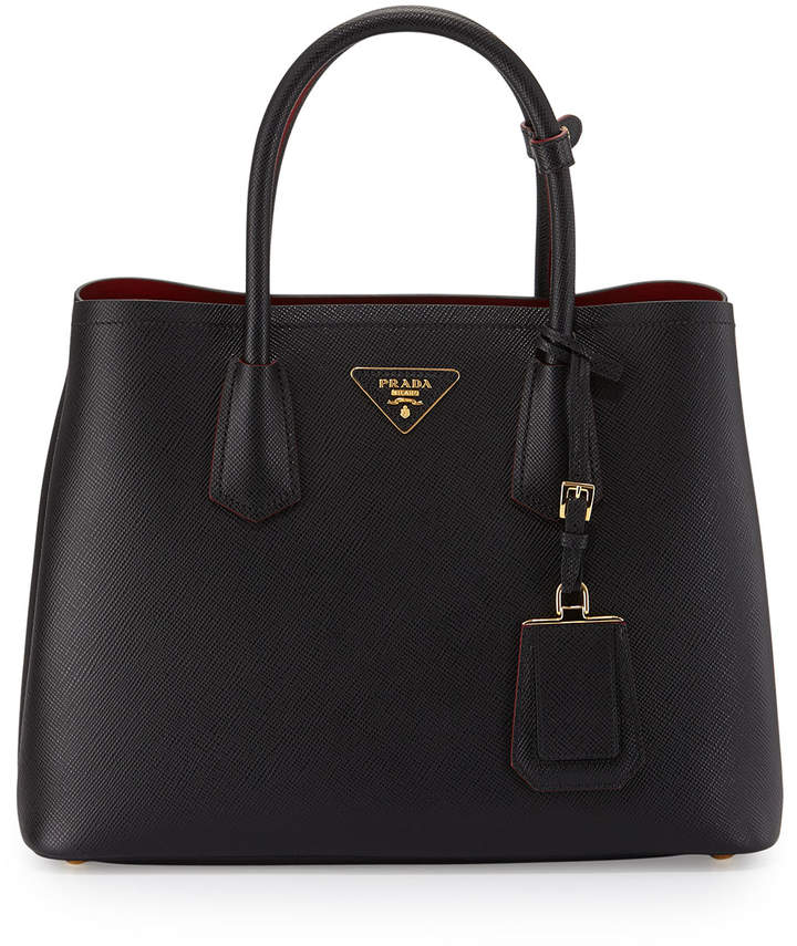 Prada Saffiano Cuir Double Medium Tote Bag, Black/Red (Nero+Fuoco) 5