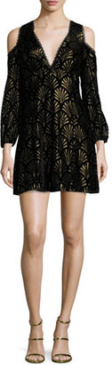 Alice + Olivia Arla Cold-Shoulder Metallic Dress $395 thestylecure.com