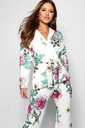 boohoo Petite Floral Print Belted Blazer