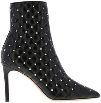 Valentino Garavani Heeled Booties Rockstud Spike Ankle Boot In Quilted Leather With Mini Metal Studs