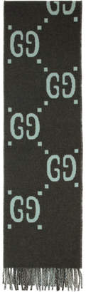 Gucci Grey and Blue Wool Tartan GG Scarf