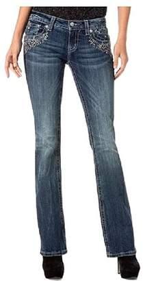 Miss Me Denim Jeans Womens Leather Studs Flap Bootcut Dark JP8494B