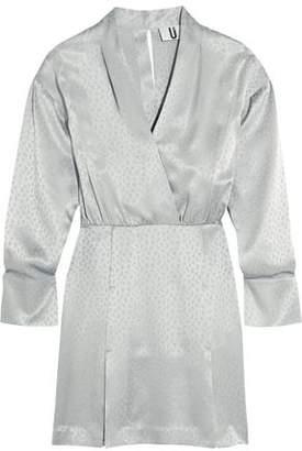 Topshop Vivien Wrap-Effect Silk Satin-Jacquard Mini Dress