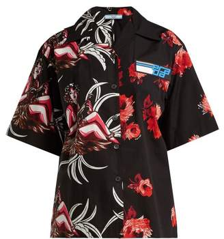 Prada Rose And Hawaiian Print Cotton Shirt - Womens - Red Print
