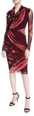 Fuzzi Patchwork Flower Cowl-Neck Long-Sleeve Dress