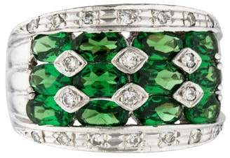 Ring Platinum Tsavorite & Diamond Cocktail