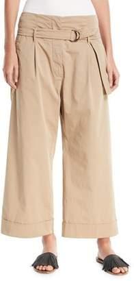 Brunello Cucinelli Mid-Rise D-Ring Belt Wide-Leg Cotton Ankle Pants