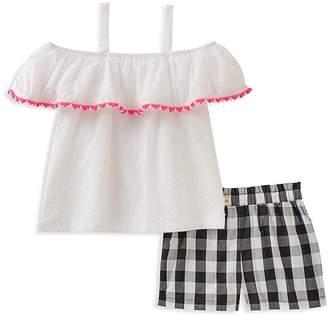 Kate Spade Girls' Off-the-Shoulder Top & Gingham Shorts Set - Baby