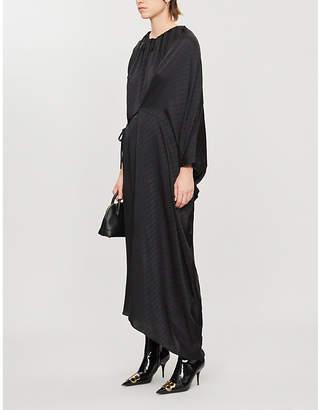Balenciaga Asymmetric logo-print silk maxi dress