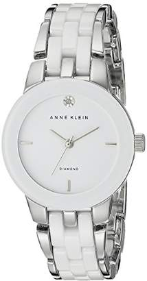 Anne Klein Women's AK/1611WTSV Diamond Dial Silver-Tone and White Ceramic Bracelet Watch