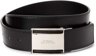 Versace Logo Plaque Buckle Leather Belt