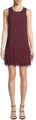 Parker Black Allegra Beaded Mini Dress with Feather Hem