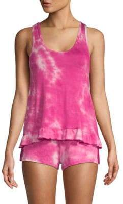 Betsey Johnson Two-Piece Tie-Dyed Shorty Pajama Set