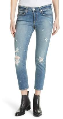 Rag & Bone Dre Ripped Ankle Slim Boyfriend Jeans