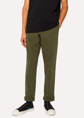 Paul Smith Men's Mid-Fit Khaki Stretch-Cotton Chinos