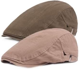 King Star 2 Pack Men Cotton Solid Ivy Irish Cabbie Newsboy Hat Scally Flat  Caps 4d0ab892e558