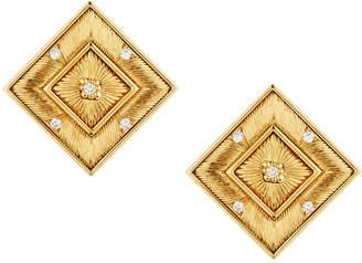 Buccellati Estate 18k Gold Square Stud & Diamond Earrings
