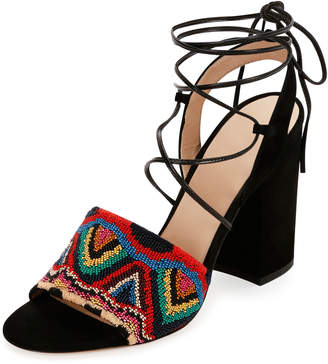 Valentino Native Beaded Lace-Up Sandals, Multicolor/Nero