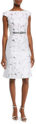 Michael Kors Palm-Brocade Boat-Neck Cocktail Dress with Belt